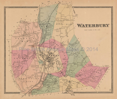 Town Waterbury Connecticut Antique Map Beers 1868 Original Decor