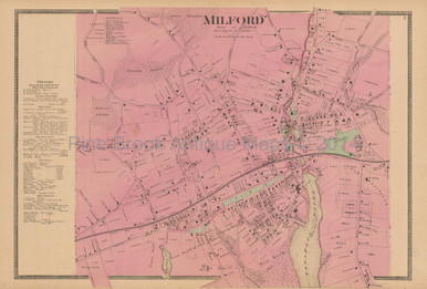 Milford Connecticut Antique Map Beers 1868 Town Original Decor