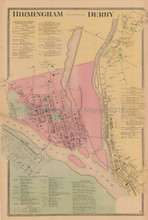 Birmingham Derby Connecticut Antique Map Beers 1868