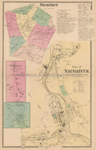 Naugatuck Connecticut Antique Map Beers 1868