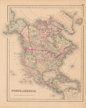 North America Antique Map Colton 1858