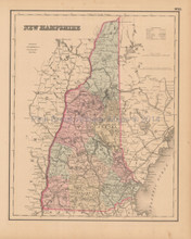 New Hampshire State Antique Map Colton 1858