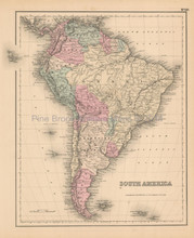 South American Continent Antique Map Colton 1858