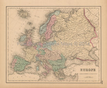 European Continent Antique Map Colton 1858