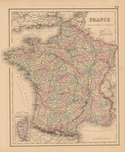 France Antique Map Colton 1858 -2