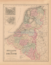 Belgium Holland Antique Map Colton 1858