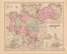 North Germany Antique Map Colton 1858