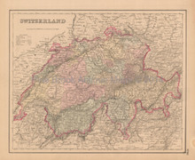 Switzerland Suisse Antique Map Colton 1858