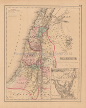 Palestine Holy Lands Antique Map Colton 1858