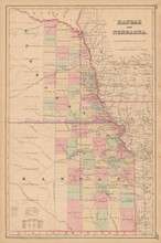 Nebraska Kansas Antique Map Colton 1858