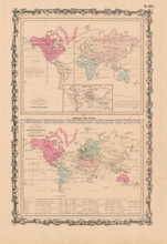Flaura Fauna Industry Comparative Antique Map Johnson 1864