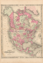 North American Continent Antique Map Johnson 1864
