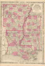 Arkansas Louisiana Mississippi Antique Map Johnson 1864