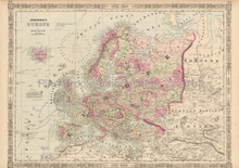 European Continent Antique Map Johnson 1864