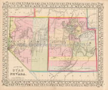 Utah Nevada Antique Map Mitchell 1867
