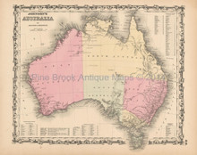 Australian Continent Antique Map Johnson 1861
