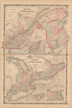 Lower Upper Canada Antique Map Johnson 1861