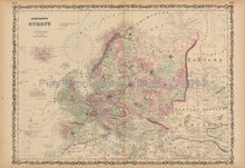 European Continent Antique Map Johnson 1861 -2