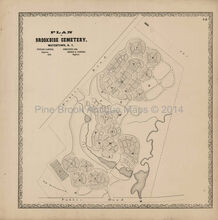 Watertown Brookside Cemetary NY Antique Map Beers 1864