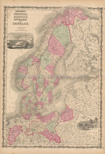 Scandinavia Prussia Antique Map Johnson 1861