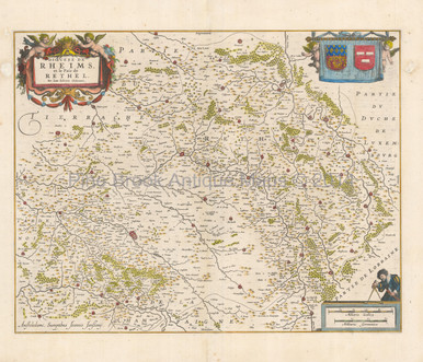 Reims France Antique Map Jansson 1640 Pine Brook Antique Maps
