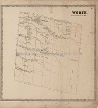 Worth Jefferson County New York Antique Map Beers 1864