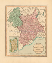 Northern Italy Antique Map Laurie & Whittle 1802