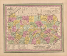 Pennsylvania Antique Map Cowperthwait 1853