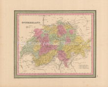 Switzerland Antique Map Cowperthwait 1853