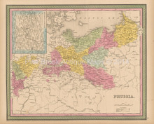 Prussia Antique Map Cowperthwait 1853