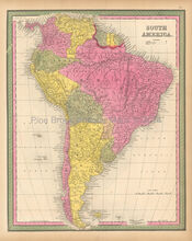 South American Continent Antique Map Mitchell 1846