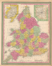 England Antique Map Mitchell 1846