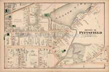 Pittsfield Massachusetts Antique Map Section #3 Beers 1876