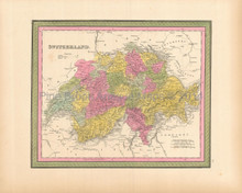 Switzerland Antique Map Mitchell 1846