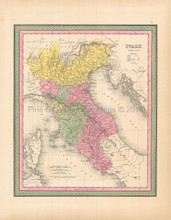 Northern Italy Antique Map Mitchell 1846