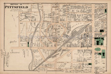 Pittsfield Massachusetts Antique Map Section #4 Beers 1876
