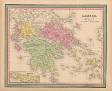 Greece Candia Antique Map Mitchell 1848