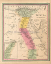 Egypt Antique Map Mitchell 1846