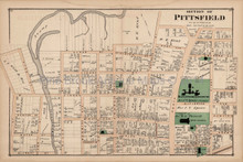 Pittsfield Massachusetts Antique Map Section #6 Beers 1876