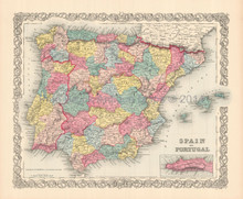 Spain Portugal Iberia Antique Map Colton 1855