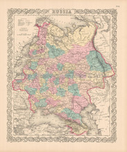 Russia In Europe Antique Map Colton 1855
