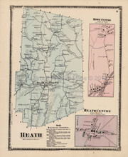Antique Map Heath Rowe Centre Massachusetts Beers 1871