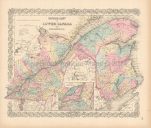 Canada East Antique Map Colton 1855