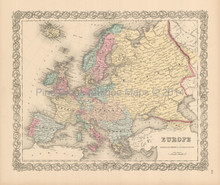 European Continent Antique Map Colton 1855