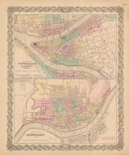 Pittsburgh Cincinnati Antique Map Colton 1856
