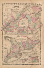 Lower And Upper Canada Antique Map Johnson 1862