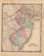 New Jersey Antique Map Johnson 1862