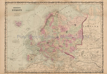 Europe Antique Map Johnson 1862