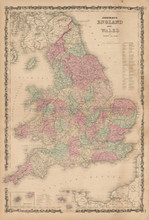 England Wales Antique Map Johnson 1862