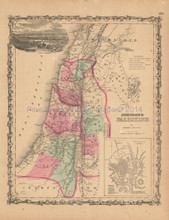 Palestine Antique Map Johnson 1862